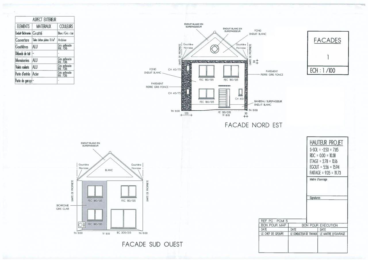 Plan des façades dans la dernière version du permis de construire