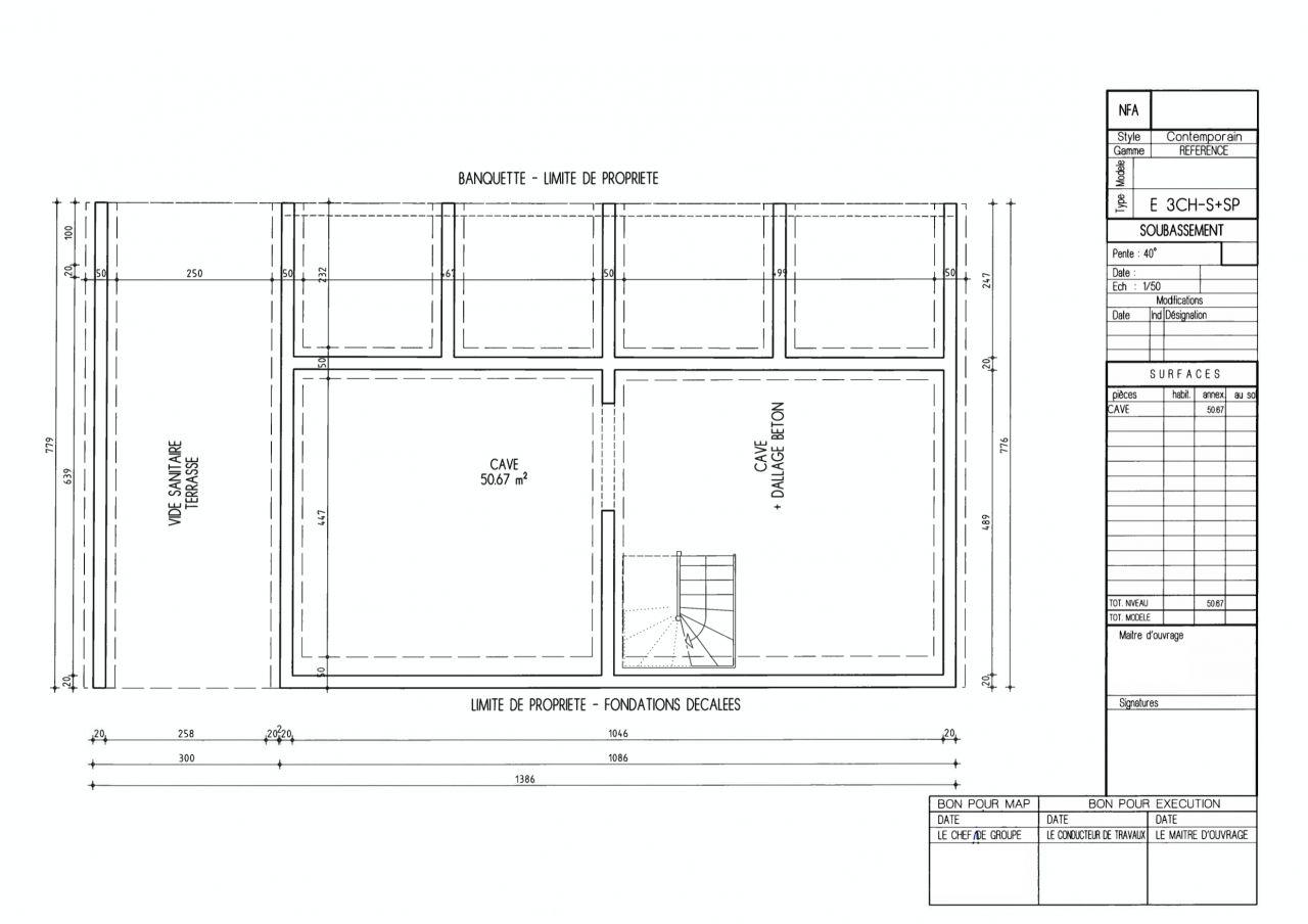 Plan du sous-sol dans la dernière version du permis de construire
