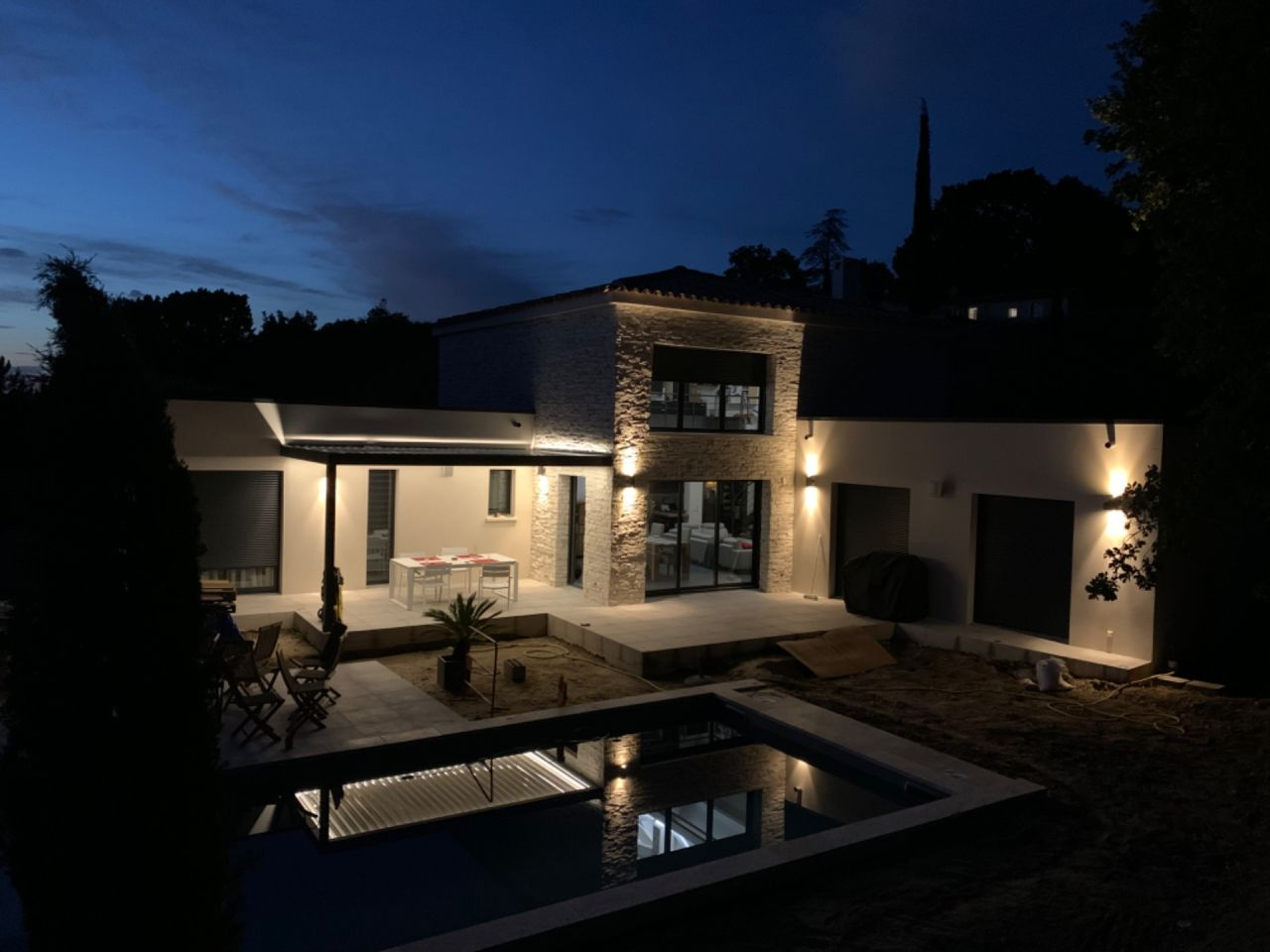 Pergola Biosun de nuit