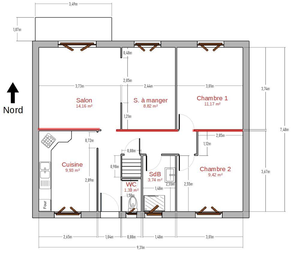 Plan de l'étage à vivre (au dessus du sous sol complet) telle que la maison est avant les travaux. Les murs porteurs ont été repassés en rouge.