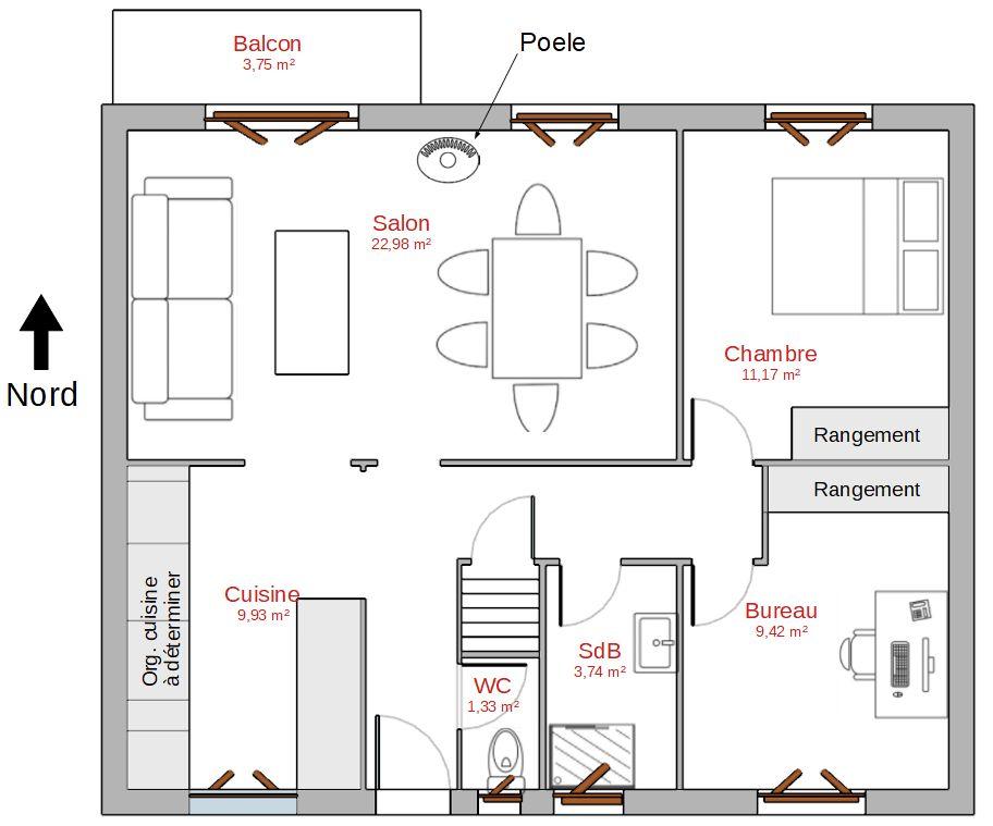 Organisation possible de la maison après travaux.