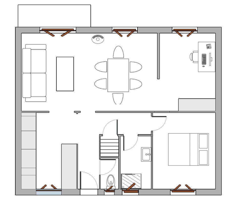 Deuxième solution d'aménagement, avec intégration du bureau à la pièce de vie, et déplacement de la chambre.