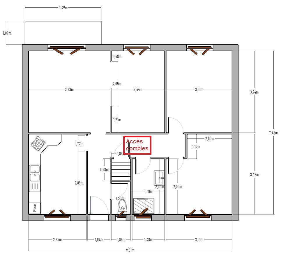 Plan de la maison telle qu'elle est actuellement, avec la trappe d'accès aux combles matérialisée en rouge.