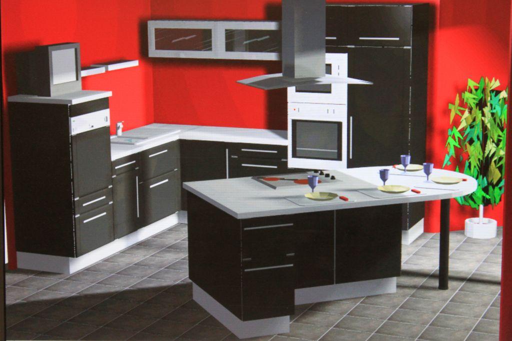 Cuisine lors de la pose projet de maison contemporaine for Vogica cuisine 3d