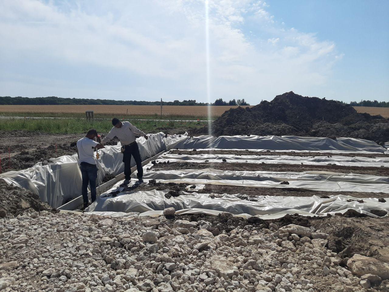 La préparation de la coulée de la fondation
