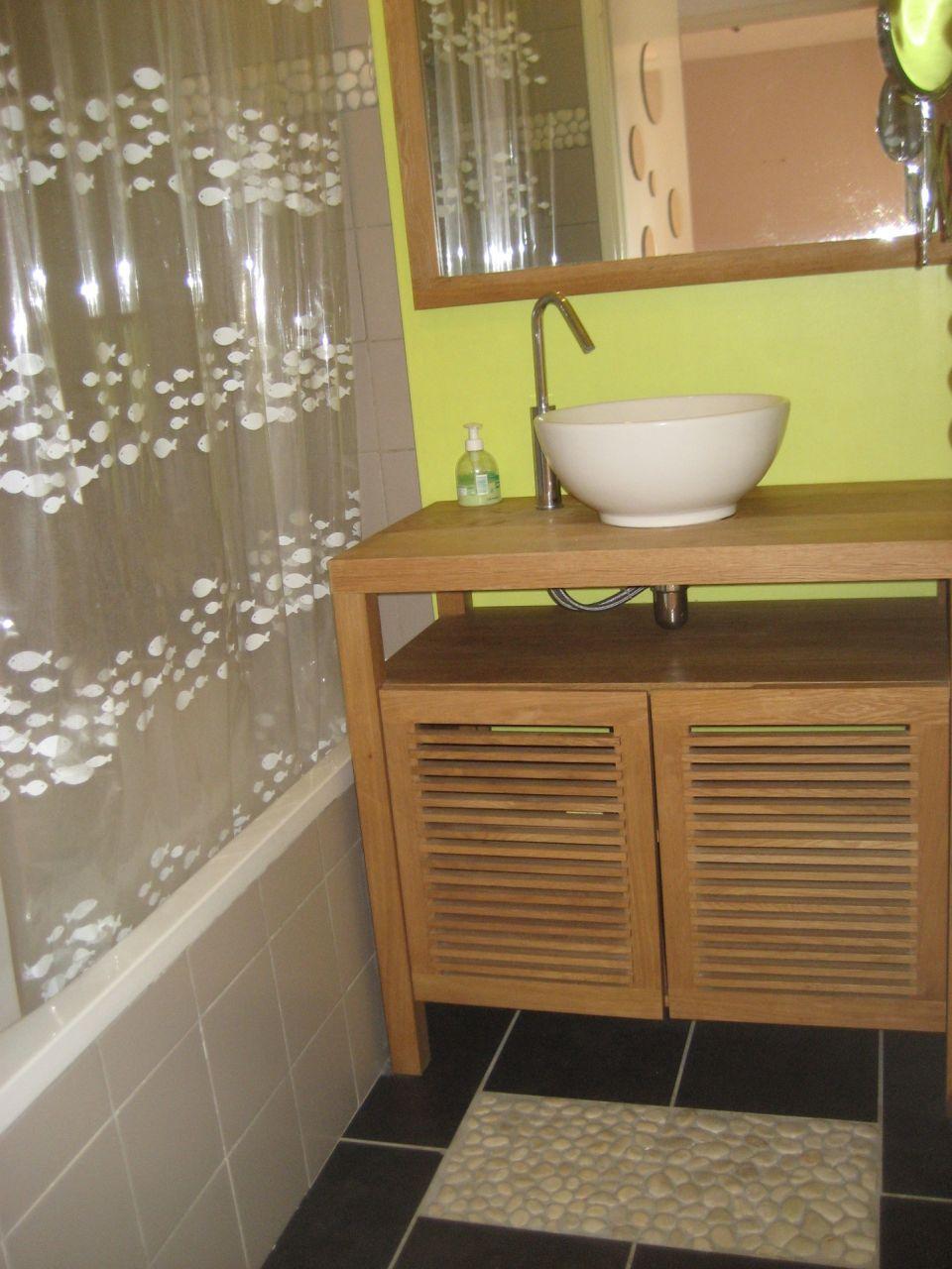 salle de bain actuelle. je souhaite enlever le meuble de salle de bain actuel et placer le lave lige sur la droite de la photo.
