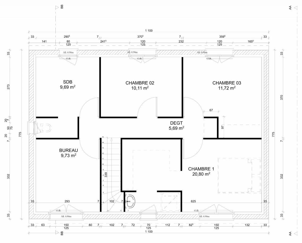 Plan de l'étage (qui va être légèrement modifié)