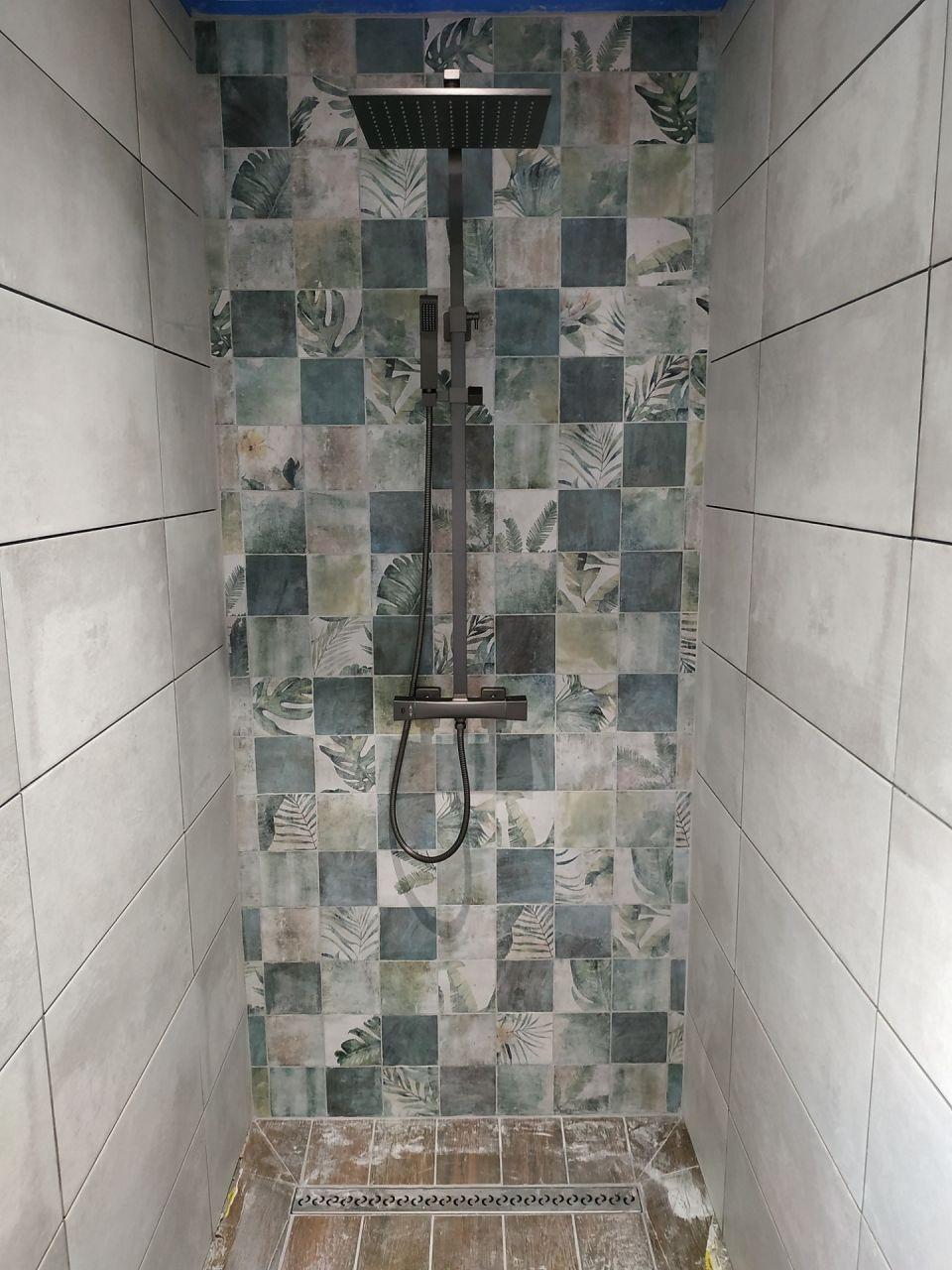 Douche en cours.