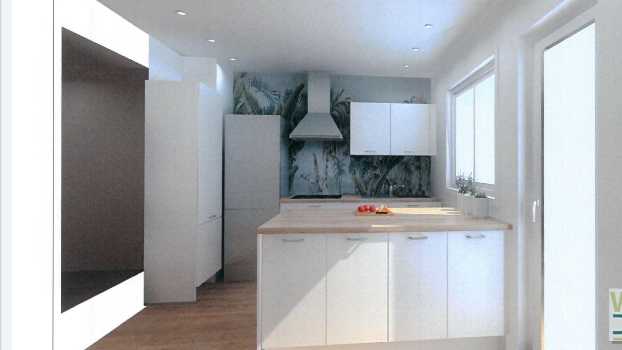 Cuisine - proposition d'implantation d'un cuisiniste avec changement de la fenêtre pour mettre une partie fixe sous les 2 vantaux et ouverture du mur après la chaudière (qui est dans l'armoire face à la fenêtre). <br />  <br /> Pas convaincue par cette implantation...