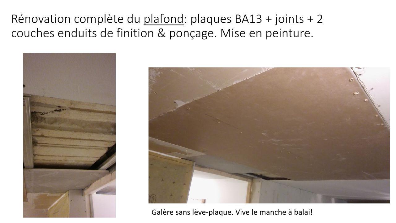 Rénovation complète du plafond: plaques BA13 + joints + 2 couches enduits de finition & ponçage. Mise en peinture.