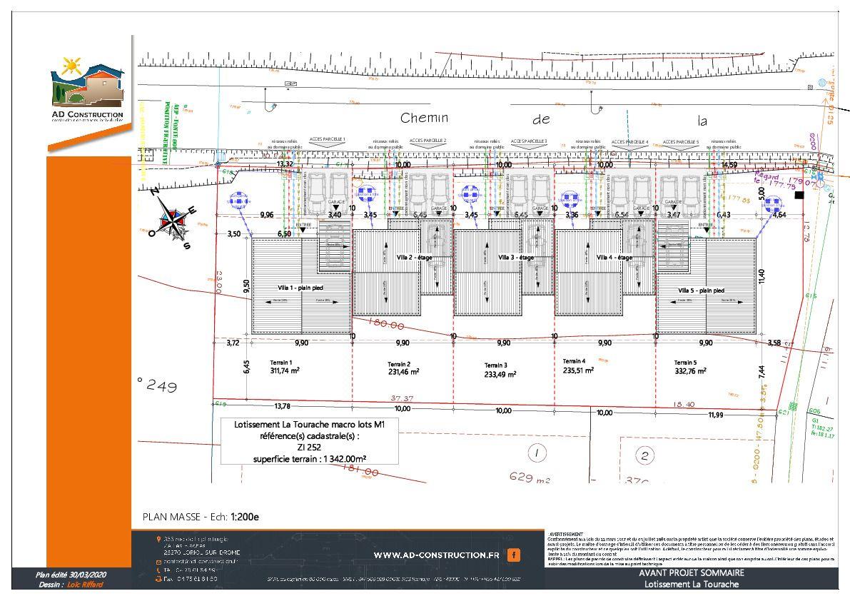 Plan détaillé du terrain des 5 maisons du lotisseurs
