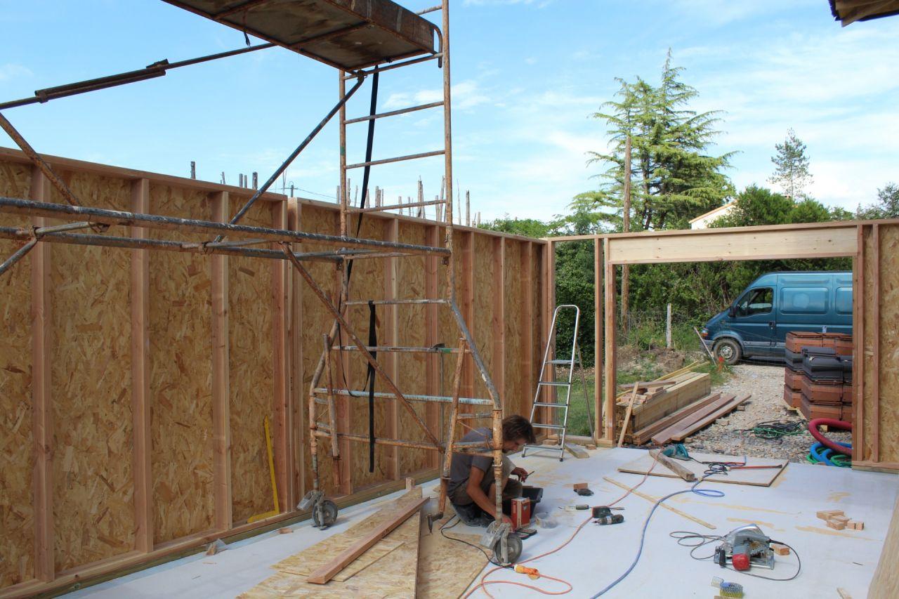mur ossature bois garage