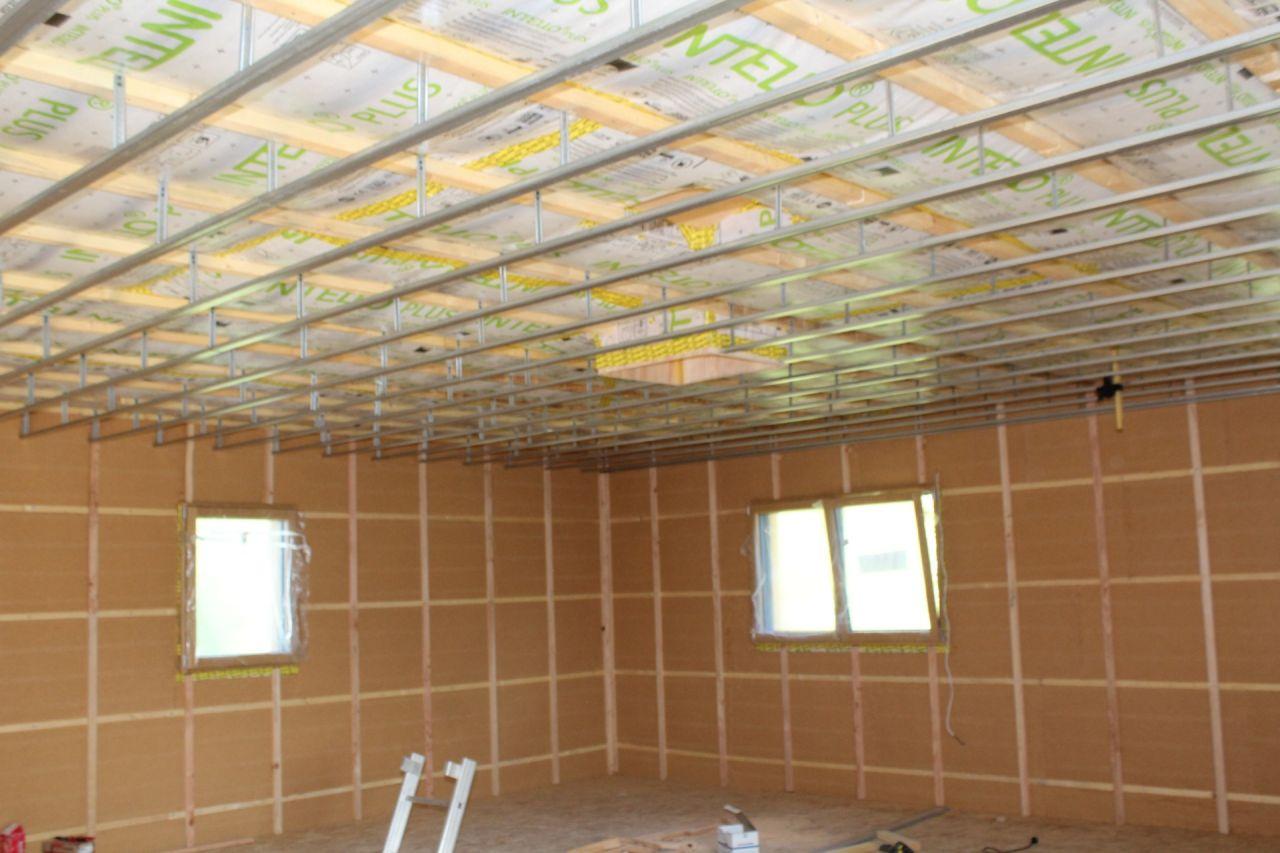 Lattage plafond et rail pour fermacell sur suspente