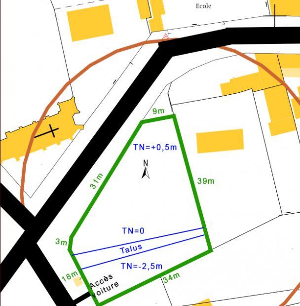 Notre terrain (entouré en vert) d'environ 1200m²