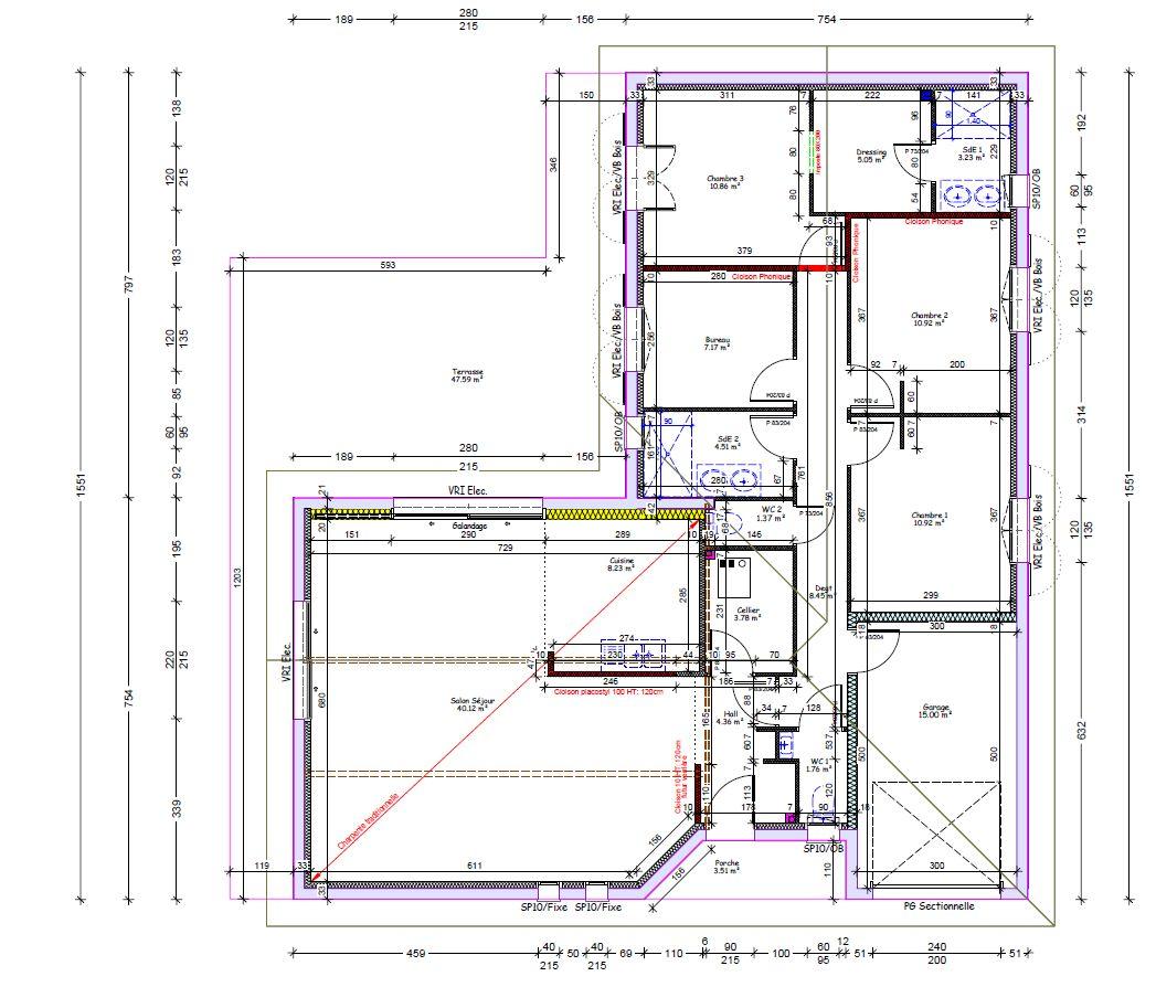 plan maison 121 m² habitable