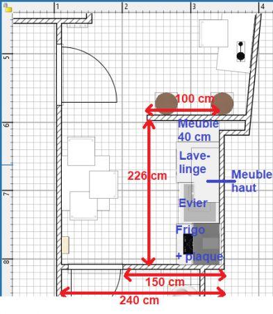 Plan de la cuisine du T1 bis.