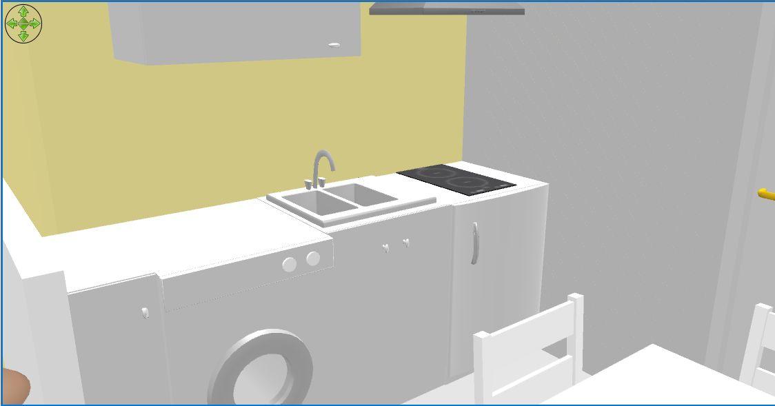Vue 3B de la cuisine du T1 bis.
