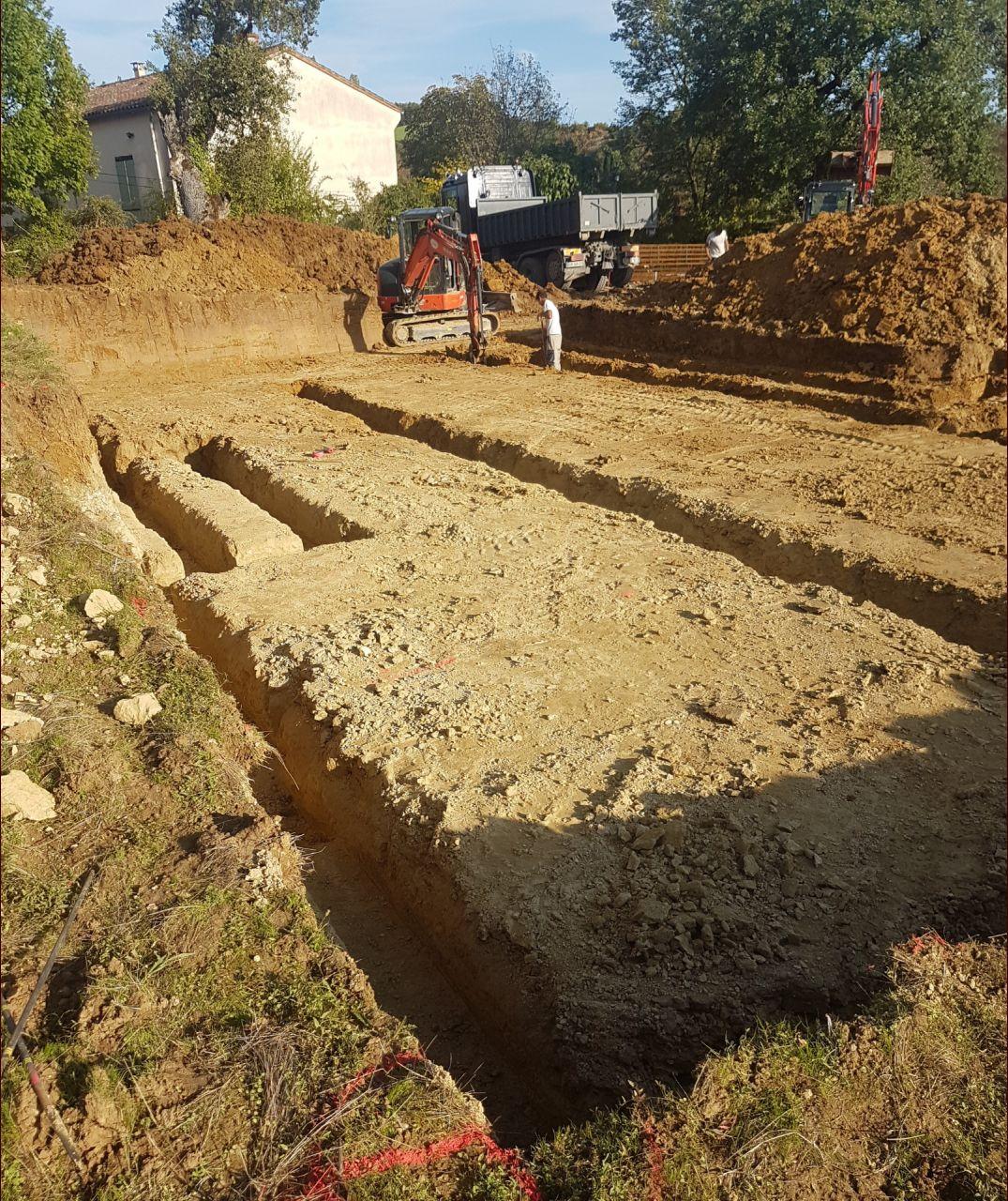 Creusage des fondations maison