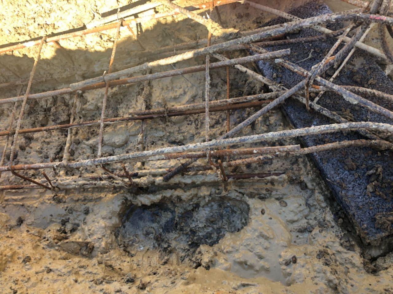 Ferraillage de fondation dans la boue