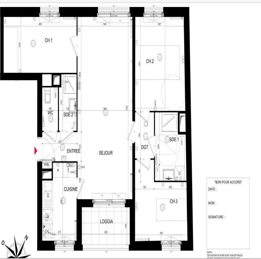 Bonjour,  <br />  <br /> il s'agit d'un appartement VEFA de 80m2, je souhaite optimiser son agencement en apportant des modifications: <br /> 1- réduire la surface de la chambre 2 de 12.18m2 pour agrandir la chambre 3 de 9.08 en décalant la salle d'eau de 5.10m2. <br />  <br /> 2- faire une suite parentale avec la chambre 1 de 10.68m2 avec la salle d'eau de 5.10m2. <br />  <br /> je suis perdue pouvez-vous SVP m'aider ou me conseiller pour la réalisation. <br />  <br /> merci