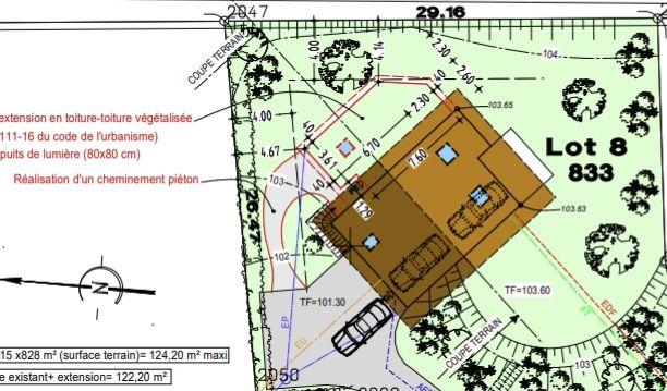 plan de masse avec extension façade est
