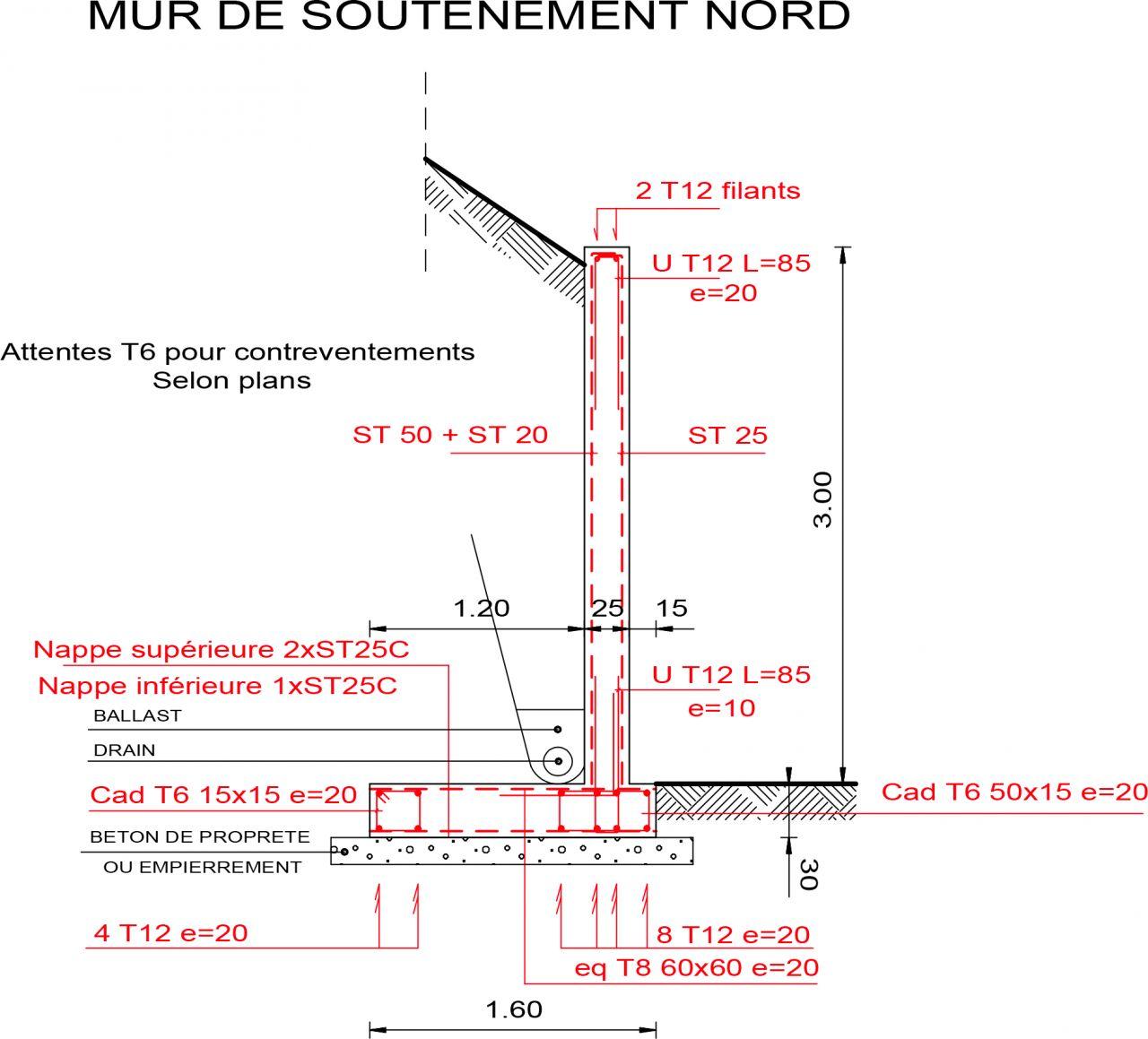 Plan ferraillage pour la réalisation d'un mur de soutenement de 3m de haut sur 35m de longeur.