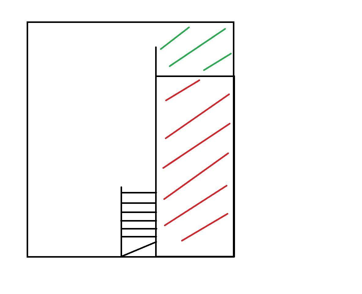 Plan du sous sol <br /> en rouge la partie comblée <br /> en vert la partie comblée qui a été creusée
