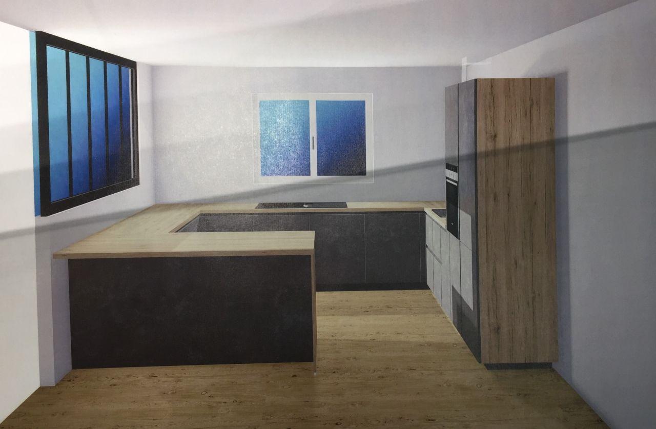 Vue 3D de notre cuisine IXINA