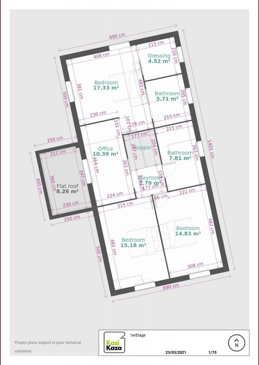 Plan du 1er etage avec 2 chambres enfants, une parentale et un bureau.