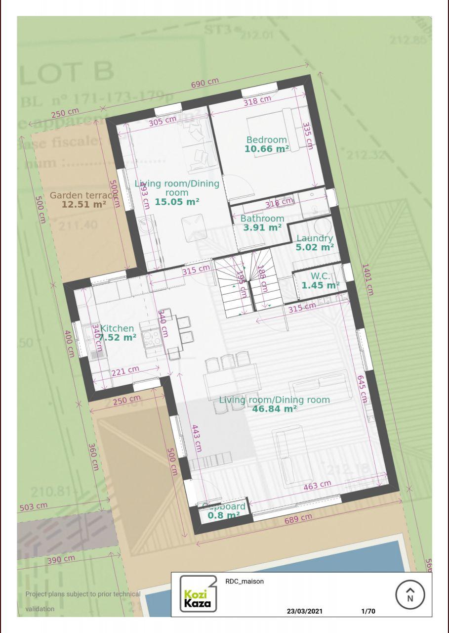 Plan du RDC avec salon/cuisine ouverte et 2P attenant pour les invités.