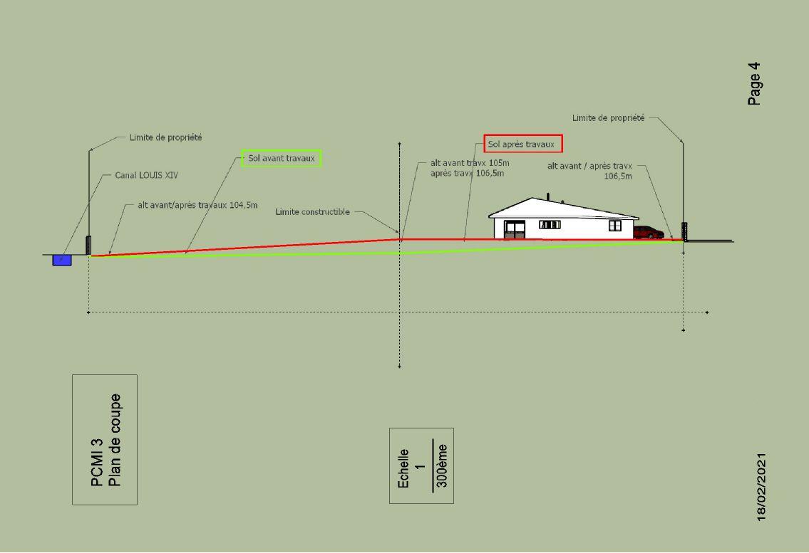Option placement de la maison à hauteur de la route...