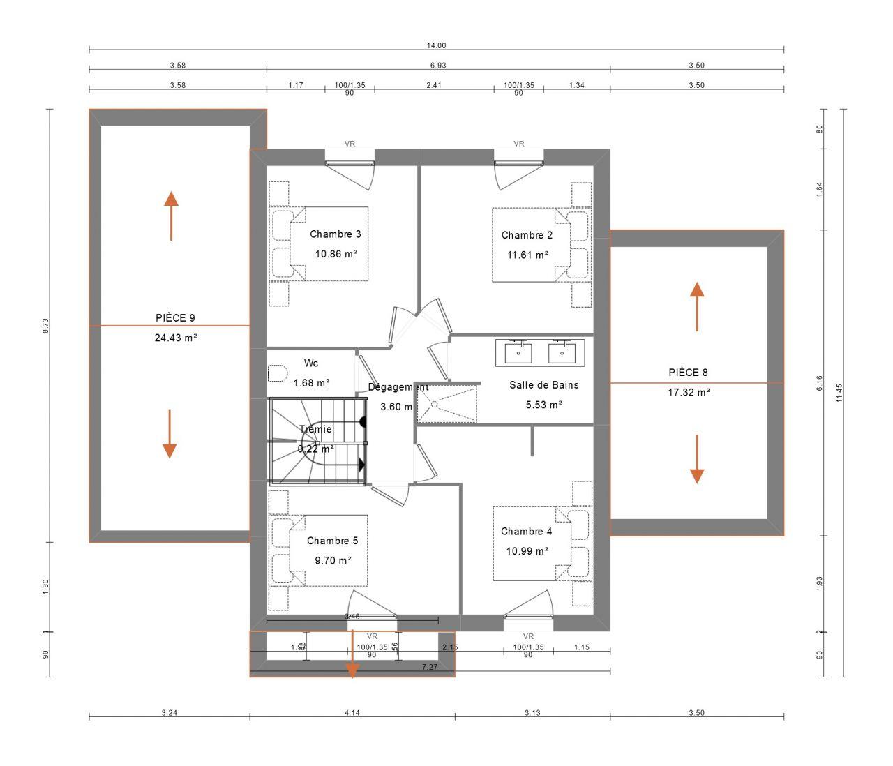 Plan étage avec côtes