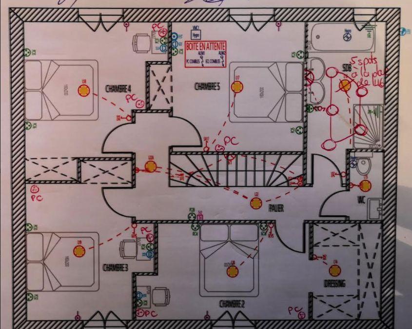 Plan électrique étage modifié