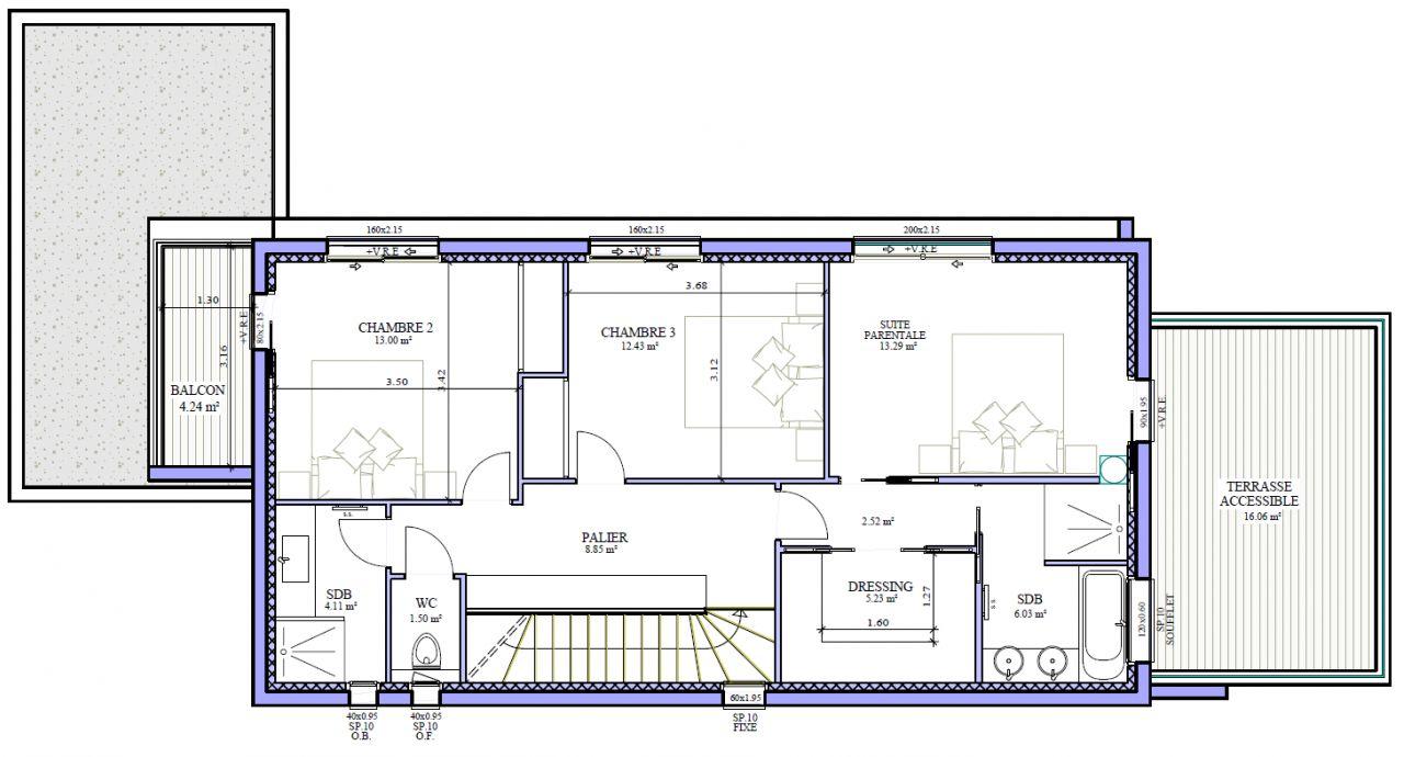 L'étage constitue l'espace nuit de la maison