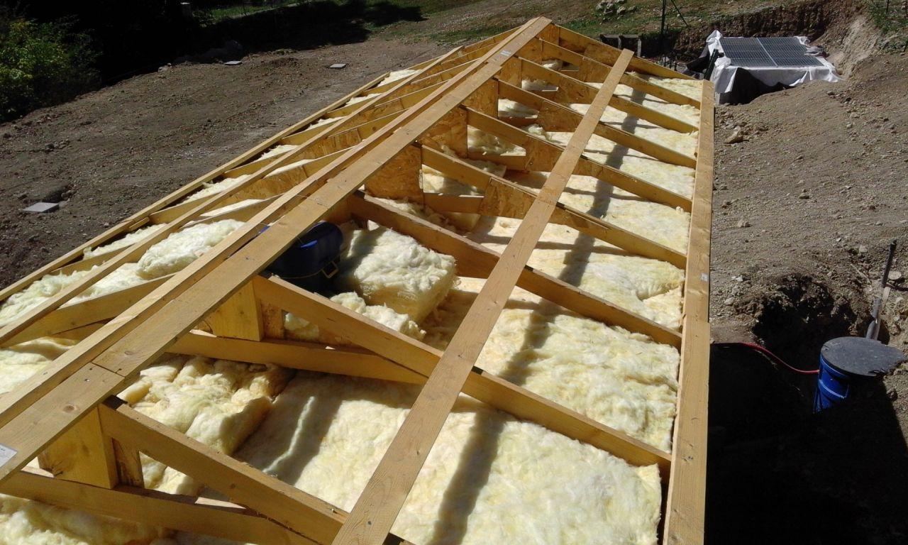 Mobilhome avec toiture fermette + laine de verre