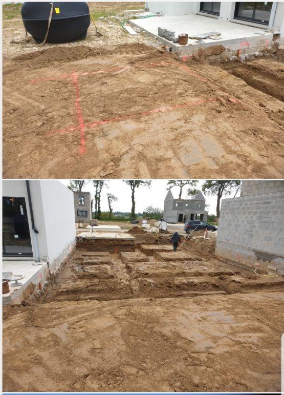 Démarrage du chantier et pose de la cuve de récupération des eaux de pluie.