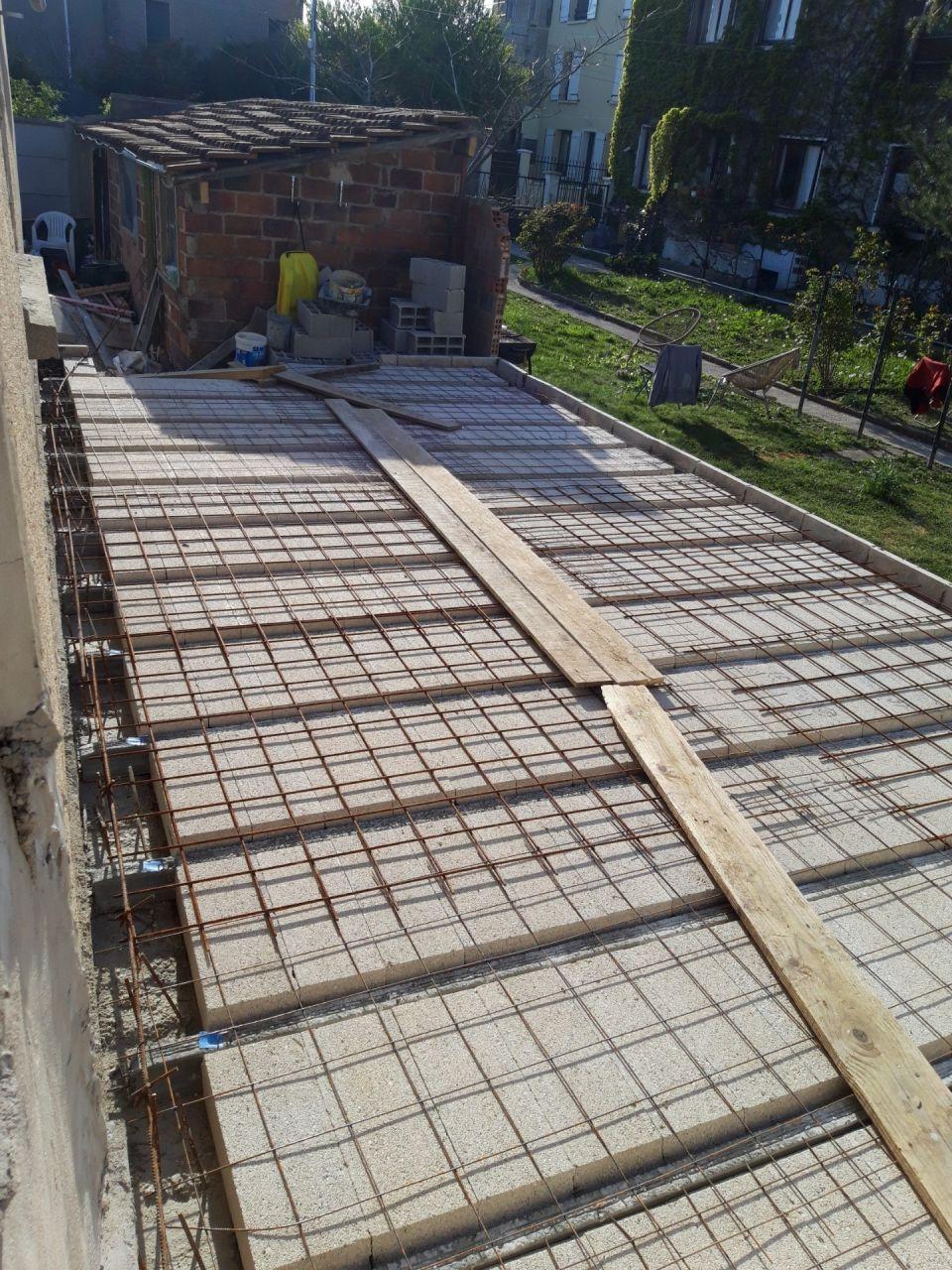 5- Ferraillage hourdi sur poutrelle beton armé coté Sud uniquement