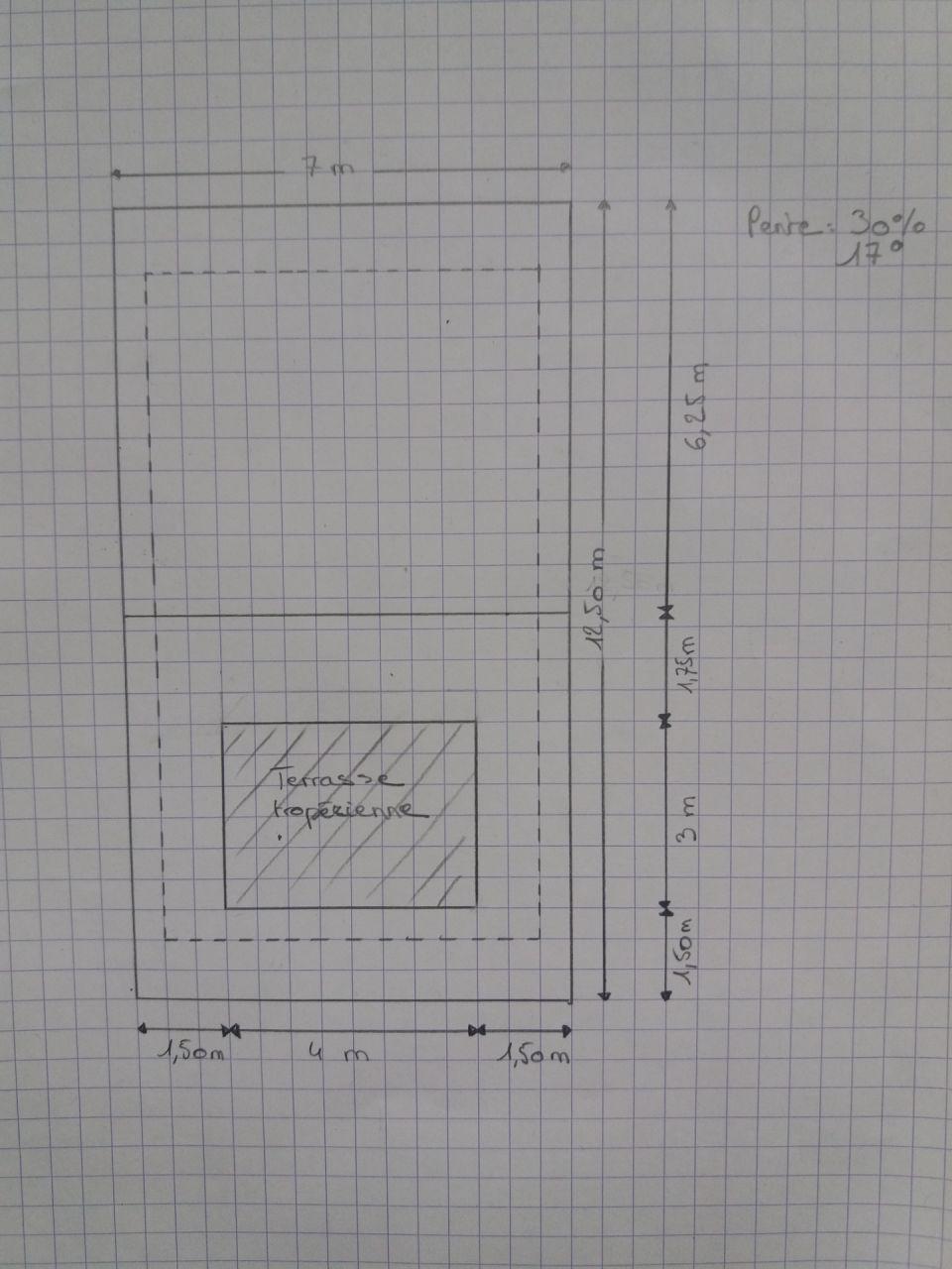 Plan de charpente, portée de 580 cm entre deux appuis maçonnés de 25 cm.