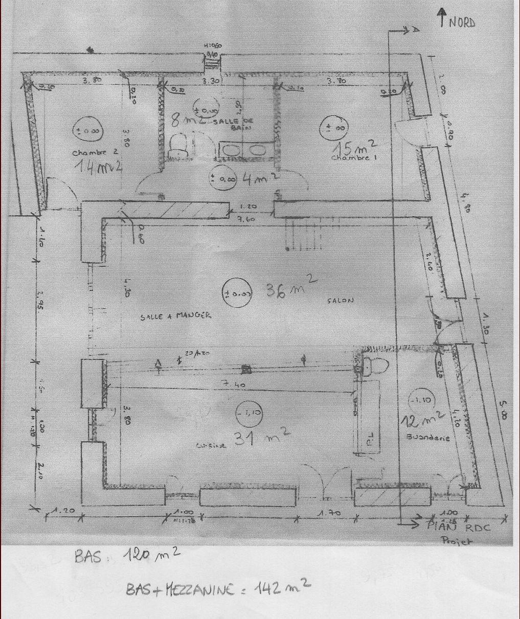 Plan effectué par les anciens propriétaires, que nous souhaitons modifier.