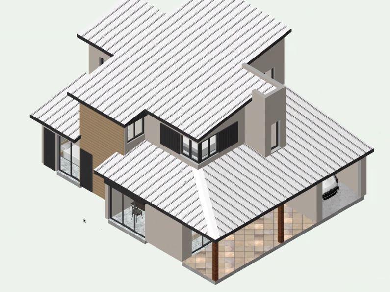 Vue de la charpente de la maison lors de la réalisation du plan par notre dessinateur.