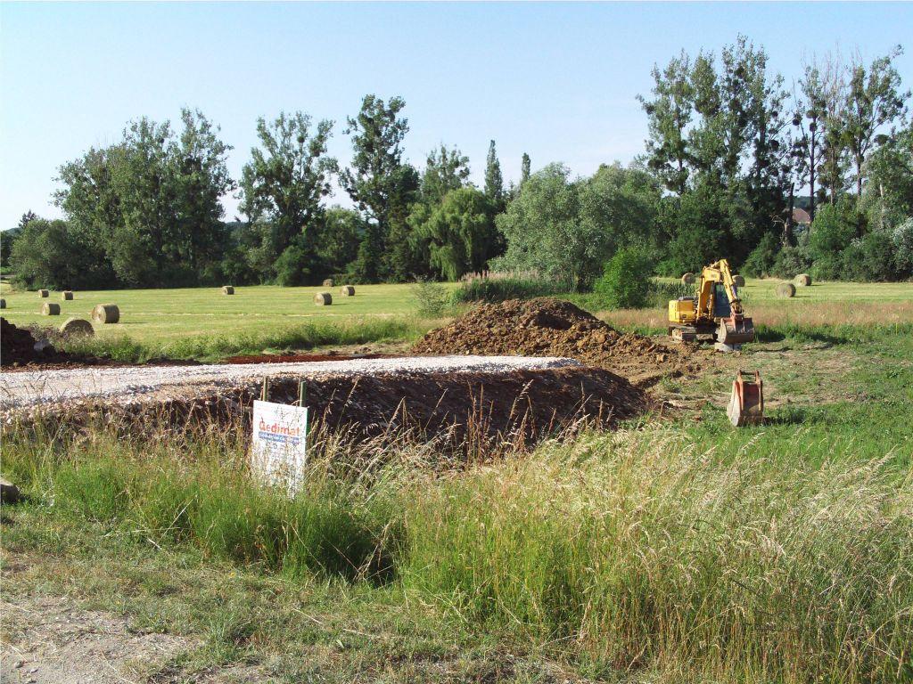 début des fouilles.