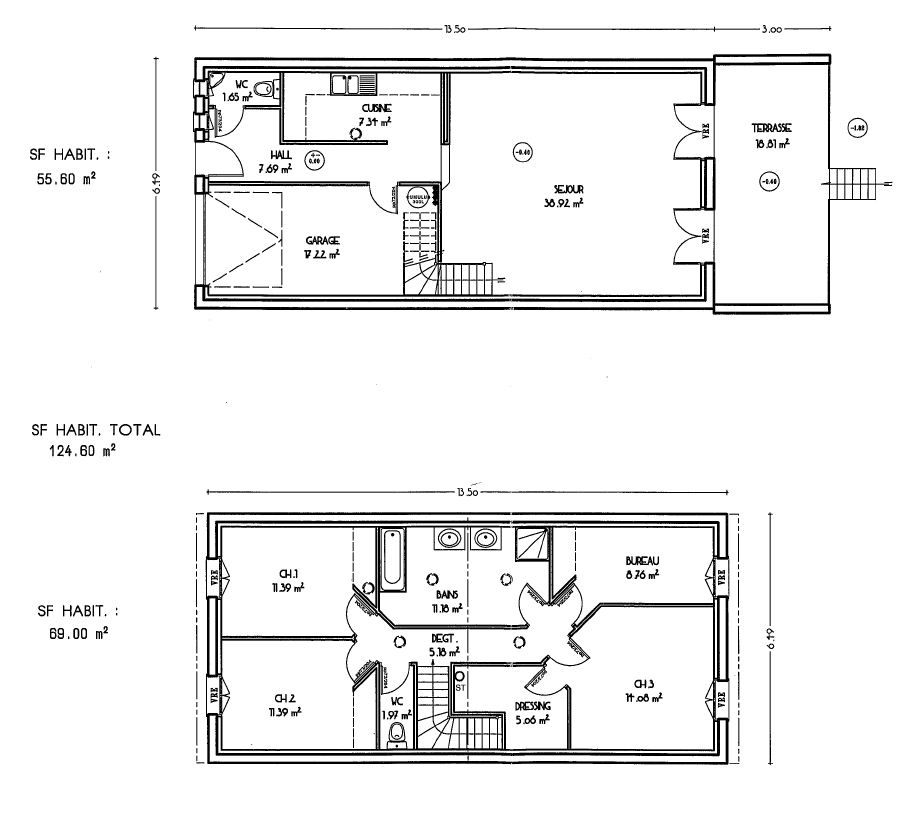 idee plan maison en longueur maison design. Black Bedroom Furniture Sets. Home Design Ideas