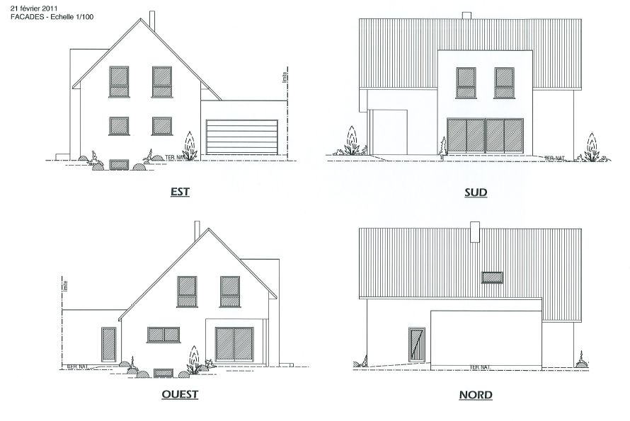 Ma maison au bord du rhin haut rhin - Plan coupe facade maison ...