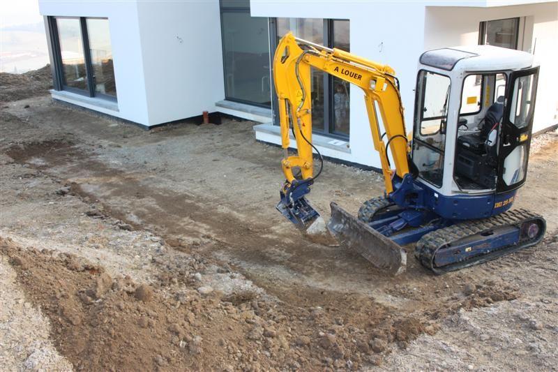 préparation du terrain pour la terrasse