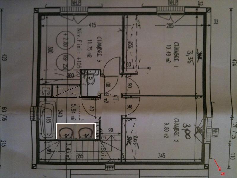WC séparé <br /> Création d'un placard dans la SDB <br /> Décalage des portes <br /> Possibilité de mettre un sèche-serviette en bout des vasques...