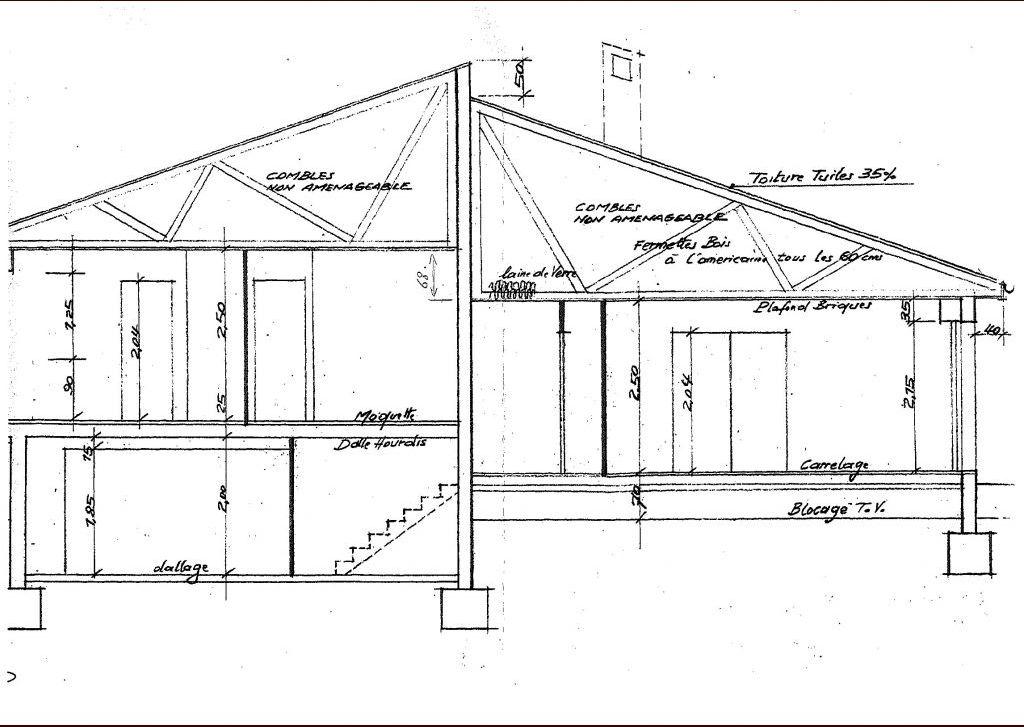 il s'agit de la coupe de la maison ou l'on voit le demi sous sol et la fermette ouest que je souhaite aménager avec un nouvelle escalier au dessus de celui qui vient du sous sol et qui arriverait sur le mur de refend.
