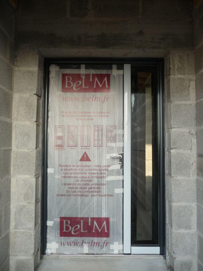 porte d'entrée bel'm zen semi fixe 130 x 215 bicolore RAL 7016