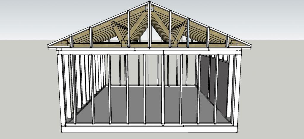 charpente industrielle pour garage en ossature bois. Black Bedroom Furniture Sets. Home Design Ideas