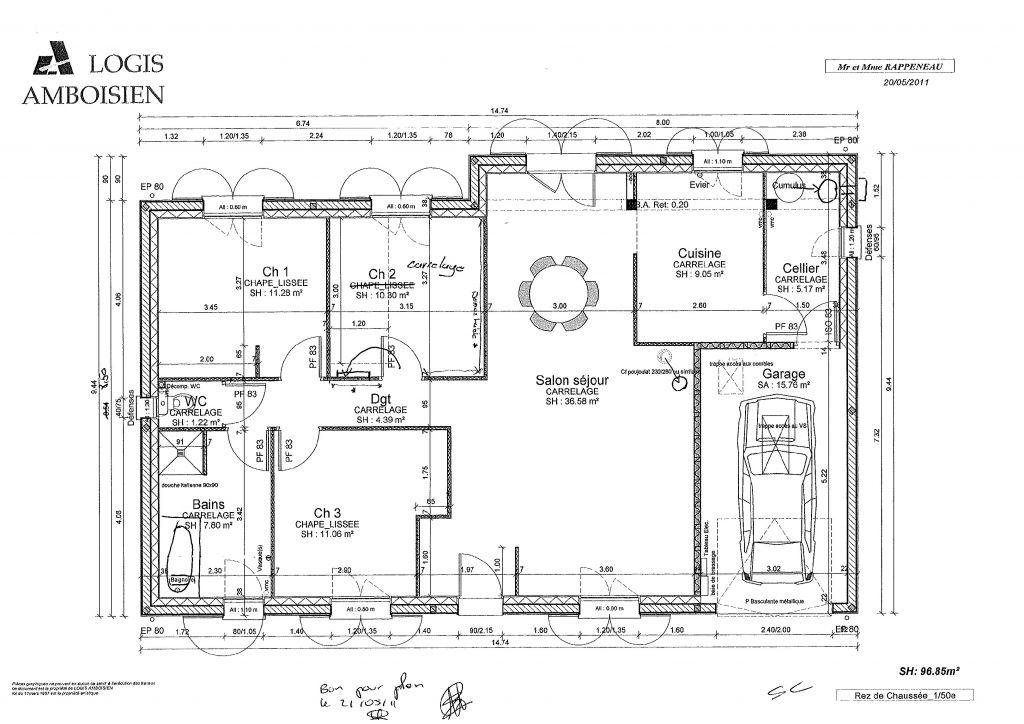 Plan maison signé