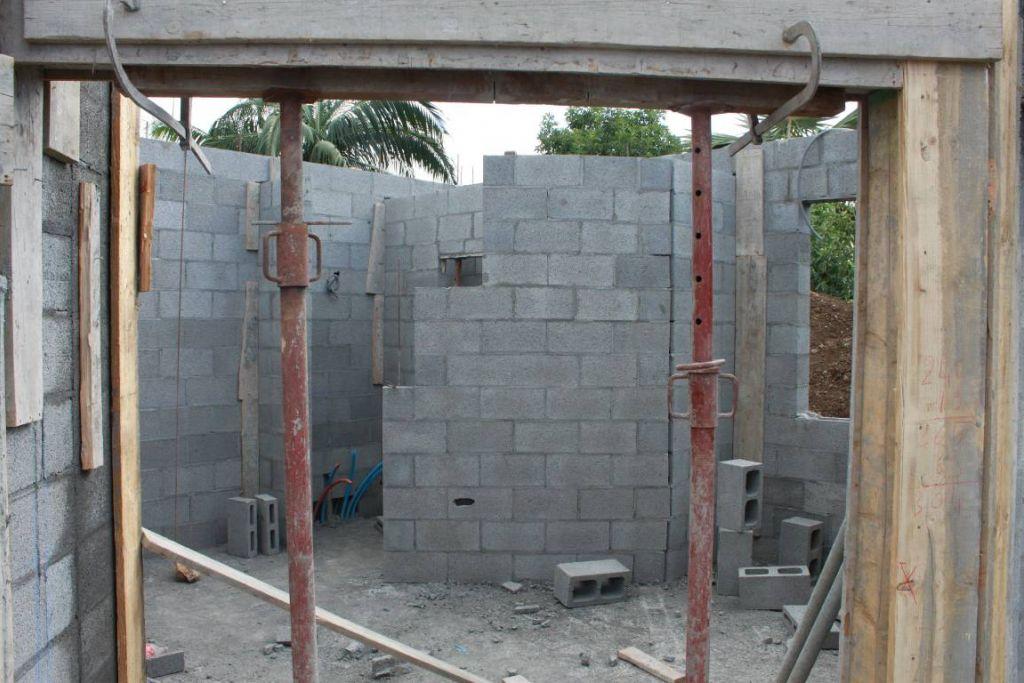 mur de la salle d'eau vu de l'entrée de la chambre
